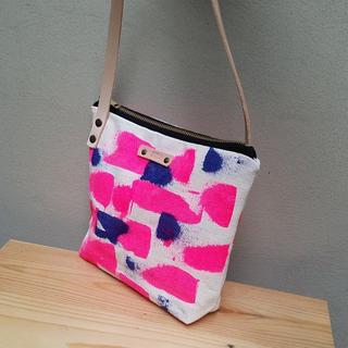 Pink & Blue Canvas Crossbody Bag