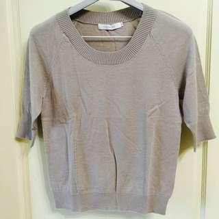 灰色短袖毛衣