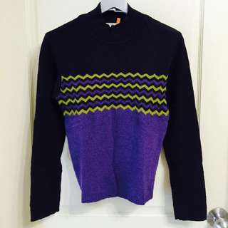 黑色紫綠色條紋毛衣FS