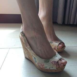 🚚 ④⑨碎花楔型涼鞋