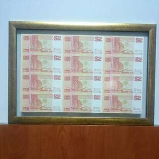 Singapore uncut 12 In 1 Orange $2 Ship Banknotes Framed