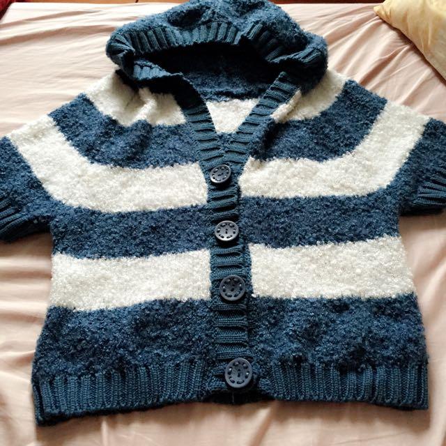 全新藍色條紋毛罩衫