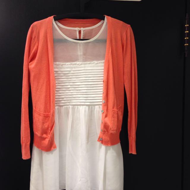 橘色薄針織小外套