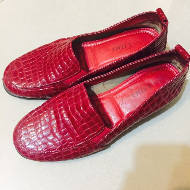 專櫃 LIDO 紅色真皮亮皮鞋