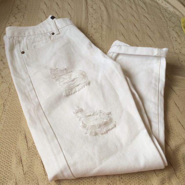 (保留中)FECHA白色男友褲
