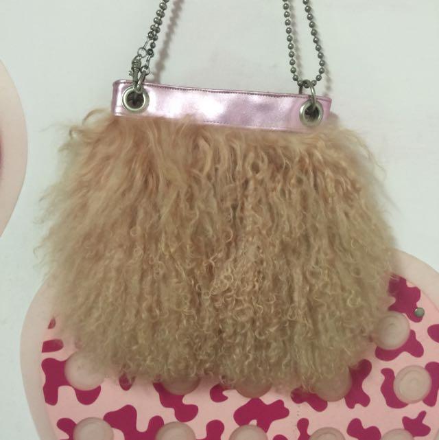 日本品牌mono Comme Ca 真羊駝毛 肩背包 手拿包