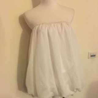 白色短洋裝 可單穿 2手