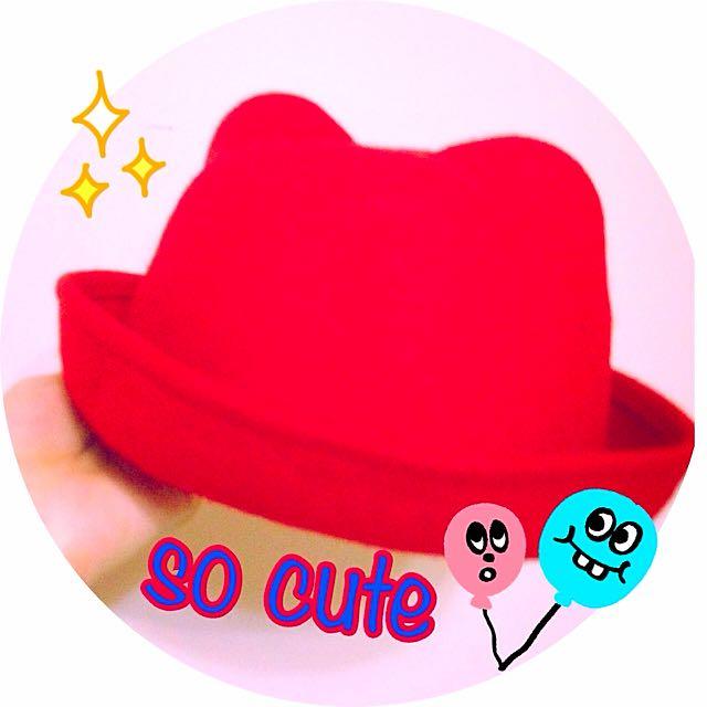(全新)可愛貓耳帽😻紅色