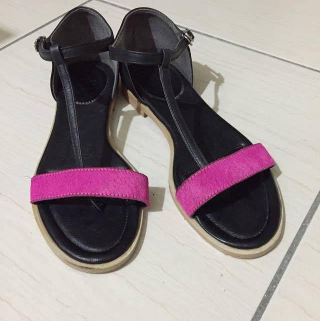 韓國馬毛撞色涼鞋