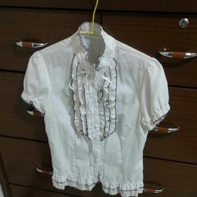 降價-氣質可愛立領白襯衫