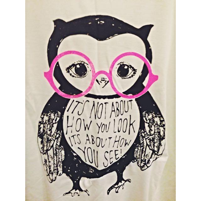 NEW⚡️棉 背心。粉紅學生 貓頭鷹