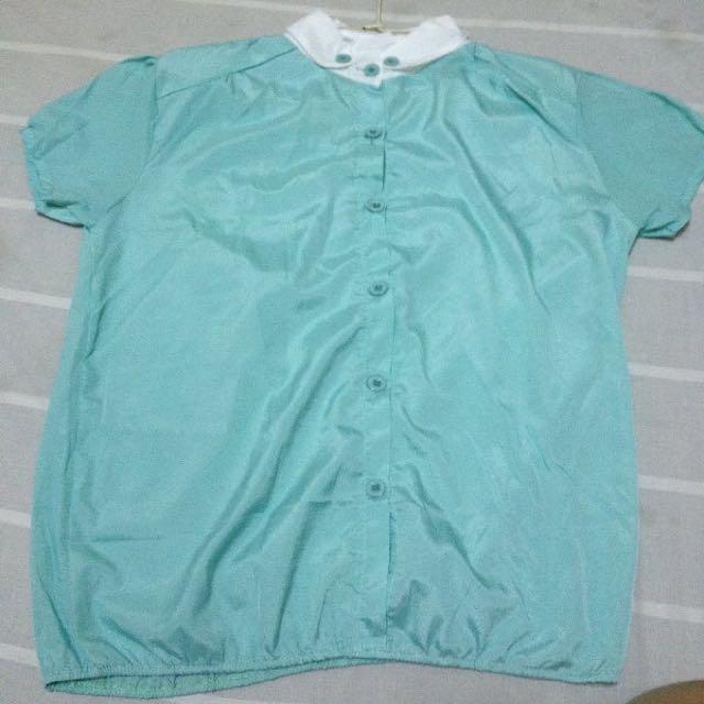Tiffany綠 V型扣 衣 公主袖