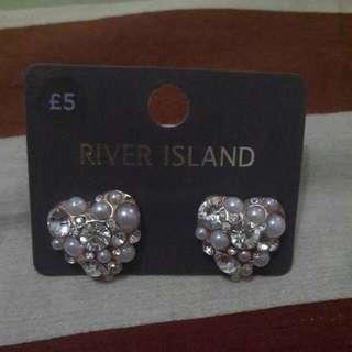 River Island Heart Shaped Earrings Classic Pastel