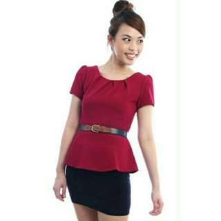 Peplum Sleeves Top In Magnenta (Does Not Include Belt)