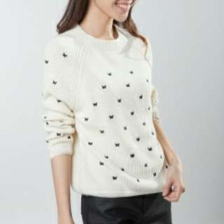 Butterfly Embroidered Knit Pullover in Cream
