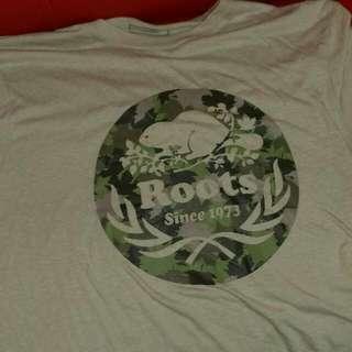(降價)ROOTS 馬丁迷彩短袖T恤 米駝色 L 二手價如新品
