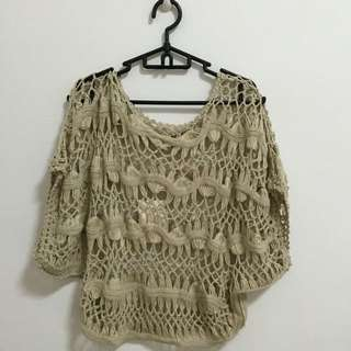 Knitted Throwover In Beige