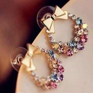 蝴蝶環針式耳環