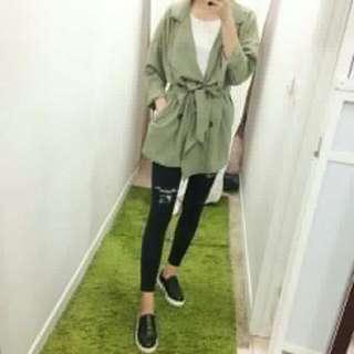 韓國雪紡綁帶風衣軍綠外套罩衫 原價690