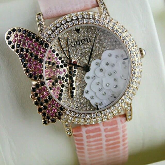 蝴蝶鑲鑽女錶