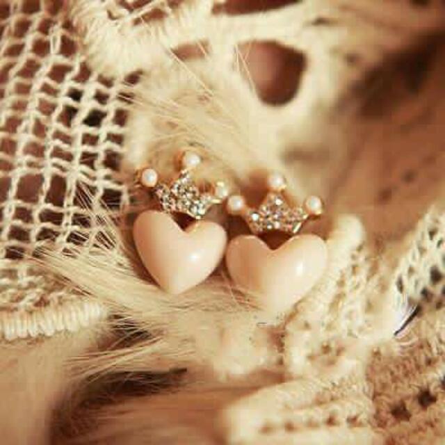 愛心皇冠耳環 針/夾式