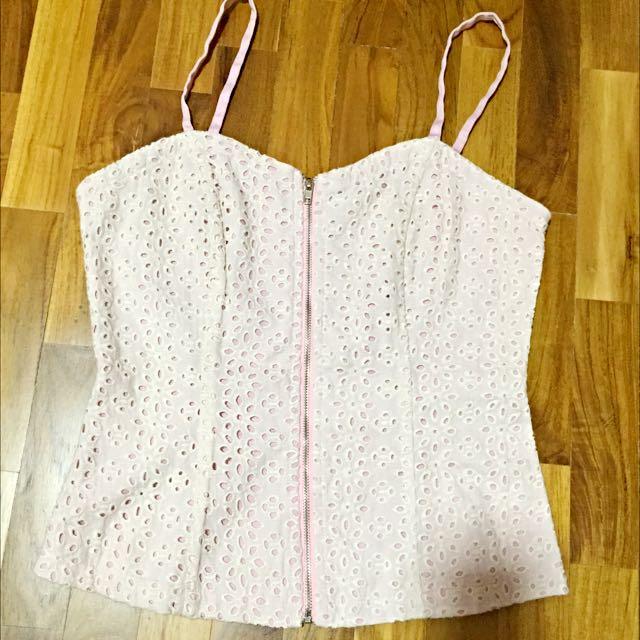 798e9b9a34306 Dusty Pink Crochet Bralette   Bustier Top