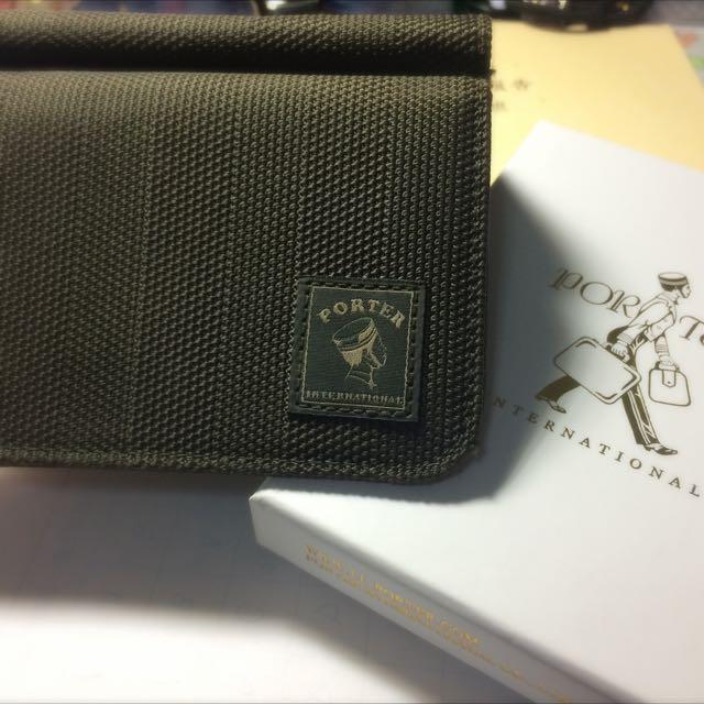 <已保留>Porter 墨綠色帆布三折短夾(有零錢袋設計)