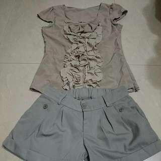 【保留】可可色OL西裝挺質襯衫