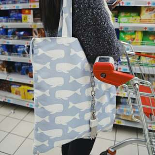 INSTOCK! Sky Blue Swimming Whales Tote Bag
