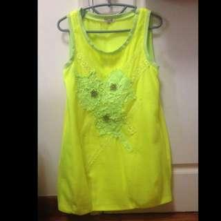 (reduced)  Miu Miu Green Yellow Dress Top -funky Hyper Style