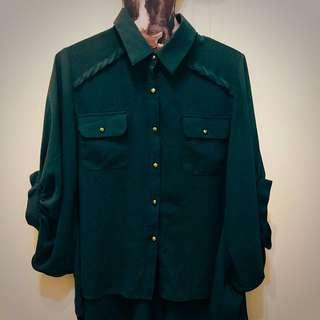 Shin自訂款、蝙蝠袖雪紡襯衫