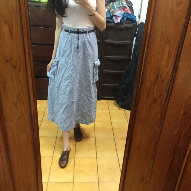 淺單寧色長裙