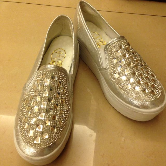 銀色寶石厚底福樂鞋