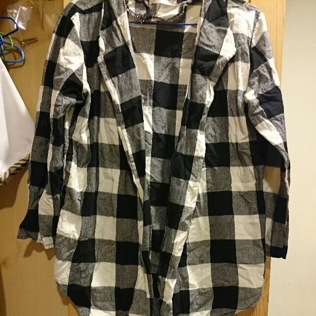 黑白格紋襯衫外套