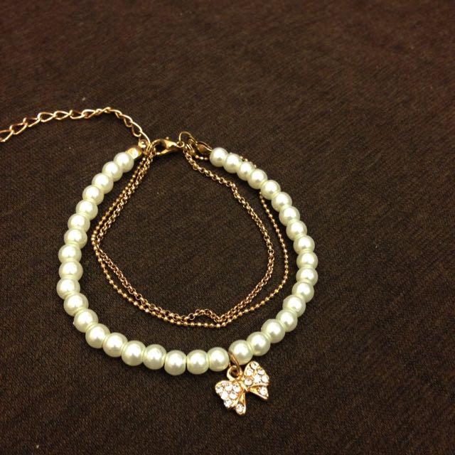 全新珍珠鑲鑽蝴蝶結墜飾手鍊