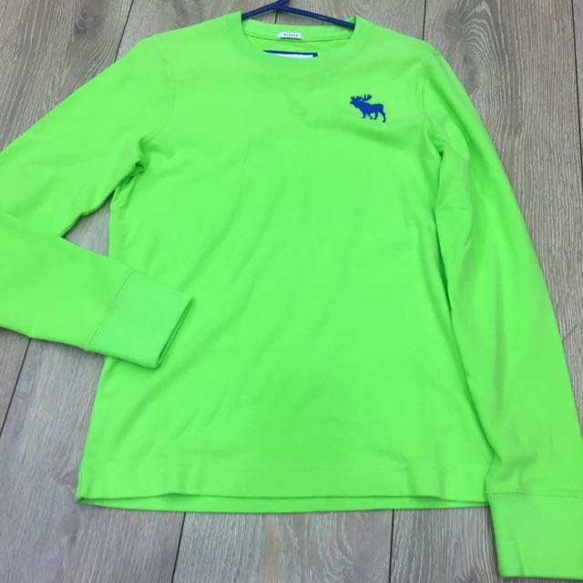 全新 Abercrombie&Fitch 棉質螢光綠長袖T shirt Small