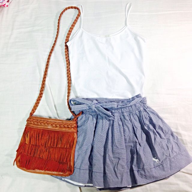 💙a&if 藍格短裙