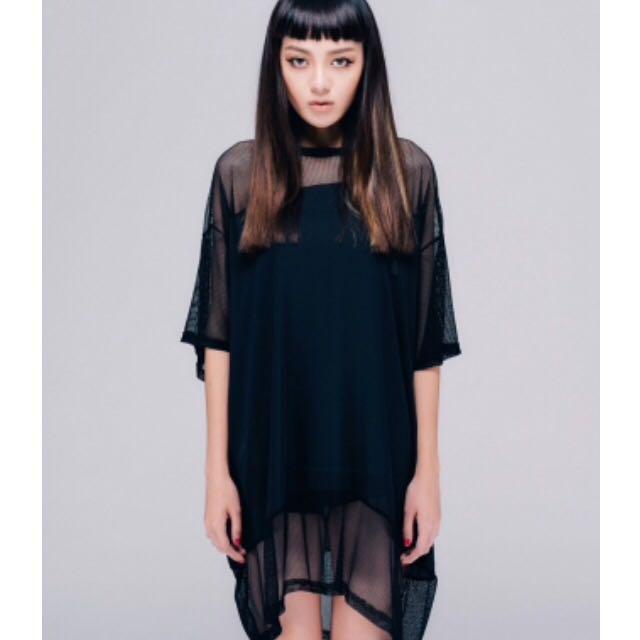 ✨全新✨網狀洞洞拼接雪紡短袖洋裝(VII&CO購入)