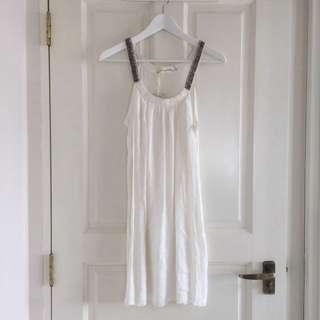BN White Dress With Beaded Neckline