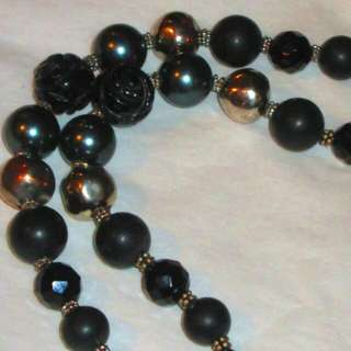 Double Strand Multi Bead Carved Onyx Pearl Bracelet