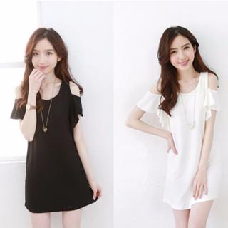 荷葉袖純色百搭連身洋裝-兩色