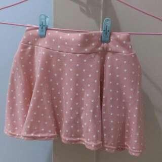 粉紅點點棉短裙(內有安全褲)