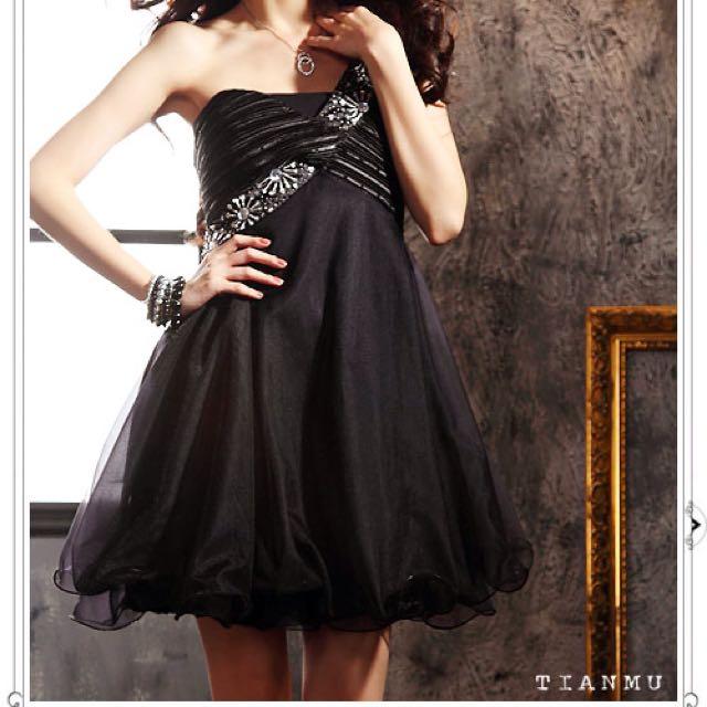 氣質小禮服~斜肩彈性連身洋裝