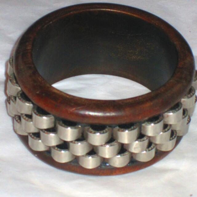 Chunky Wood Bangle With Stainless Steel Accented Contour