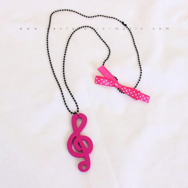 G Clef Long Necklace - Pink