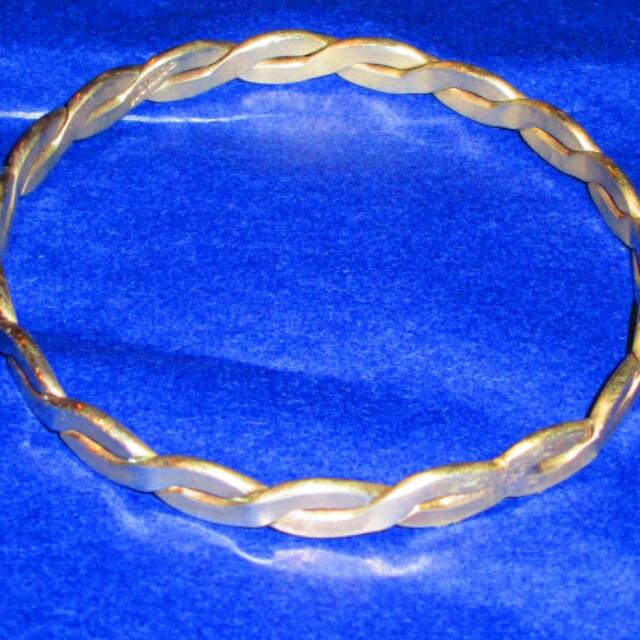 Mexico Silver Twisted Flat Bar Bangle