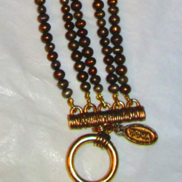 Multi Strand Seed Pearls With Gold Tone Toggle Clasp