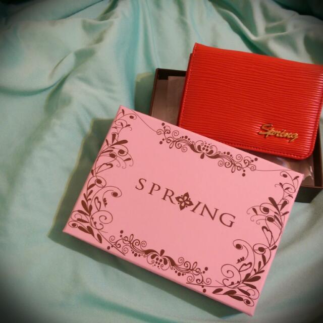 Spring女性皮夾-鮮紅色