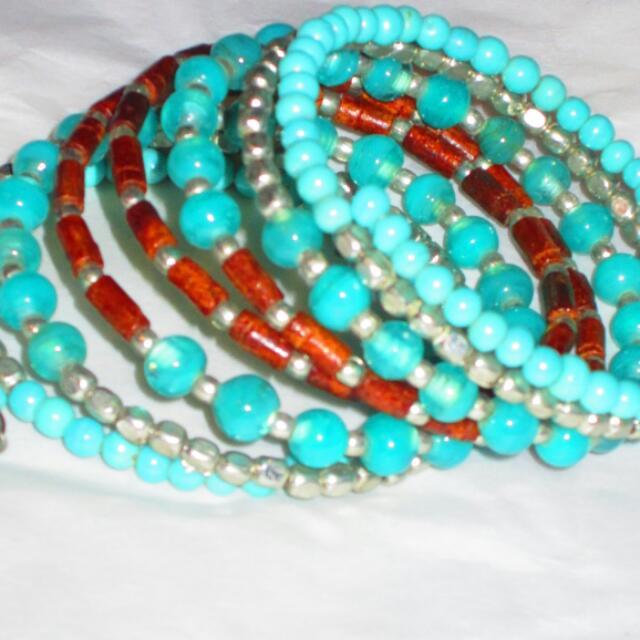 Turquoise Aqua Marine Silver Coil Wrap Around Bracelet