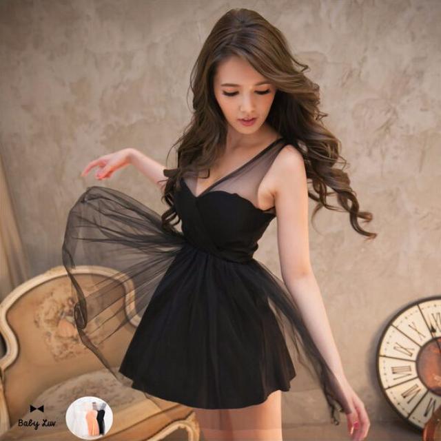 V領透膚網紗拼接波浪裙擺小禮服洋裝